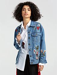 cheap -Women's Daily Street chic Spring Fall Denim Jacket,Solid Shirt Collar Long Sleeve Regular Cotton