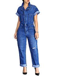 cheap -Women's Plus Size Jumpsuit - Solid High Waist Shirt Collar