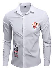 メンズ 日常 シャツ,カジュアル シャツカラー プリント コットン 長袖