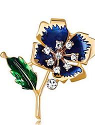 cheap -Women's Flower Rhinestone Imitation Diamond Brooches - Classic / Fashion Dark Blue / Red Brooch For Daily