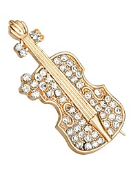 Недорогие -Жен. Броши Стразы Простой Мода Искусственный бриллиант Сплав Гитара Золотой Бижутерия Назначение Повседневные