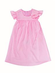 abordables -Robe Fille de Quotidien Sortie Couleur Pleine Coton Eté Manches Courtes Mignon Princesse Rose Claire Fuchsia