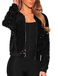 cheap -Women's Jacket - Solid, Sequins