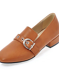 cheap -Women's Shoes PU Spring Fall Comfort Loafers & Slip-Ons Chunky Heel Square Toe Buckle for Office & Career Dress Almond Pink Brown Black