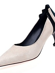 Women's Shoes PU Winter Fall Comfort Heels Null High Heel Pointed Toe Null / for Casual Black White