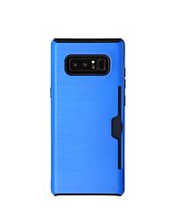 Capinha Para Samsung Galaxy NNote 8 Note 5 Porta-Cartão Antichoque Corpo Inteiro Côr Sólida Rígida TPU para Note 8 Note 5