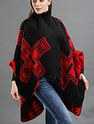 Недорогие -Для женщин Прямоугольная,Зима Осень Шерсть Акрил С принтом Зеленый Черный Красный