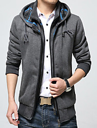 cheap -Men's Casual Plus Size Cotton Jacket-Solid Colored Hooded