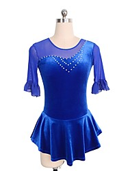 cheap -Figure Skating Dress Women's Girls' Ice Skating Dress Blue Spandex Lace Inelastic Performance Practise Skating Wear Solid Half Sleeve Ice