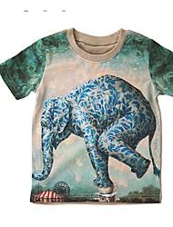 economico -Blusa Da ragazzo Seta Animal Estate Verde Blu marino