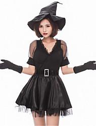 Недорогие -ведьма Косплэй Kостюмы Жен. Хэллоуин Карнавал Фестиваль / праздник Костюмы на Хэллоуин Черный Контрастных цветов