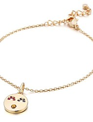 cheap -Women's Charm Bracelet Cubic Zirconia Simple Casual Lovely Zircon Copper Gold Plated Circle Jewelry Gift Daily