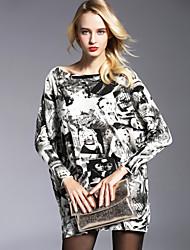 cheap -YHSP Women's Street chic Loose Sweater Dress Print High Waist