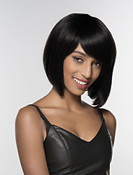 preiswerte -Menschliches Haar Capless Perücken Echthaar Kinky Glatt Seitenteil Medium Maschinell gefertigt Perücke Damen