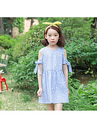 cheap -Girl's Casual/Daily Grid Pattern Dress,Cotton Winter Fall Sleeveless Simple Blue