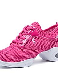economico -Per donna Sneakers da danza moderna Tulle Sneaker A fantasia Piatto Personalizzabile Scarpe da ballo Fucsia