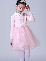 cheap -Girl's Daily Going out Solid Flower/Floral Embellished&Embroidered Dress,Cotton Linen Winter Fall Long Sleeves Cute Active Princess