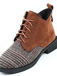 Недорогие -Для женщин Обувь Нубук Полиуретан Зима Осень Удобная обувь Модная обувь Ботинки Ноль Блочная пятка Круглый носок Ботинки / для