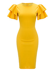 cheap -Women's Party Going out Vintage Active Sexy Bodycon Sheath DressSolid Round Neck Knee-length Short Sleeve Polyester Spring Summer Mid