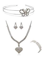 abordables -Femme Strass Imitation Diamant Papillon / Cœur Ensemble de bijoux Bijoux de Corps / 1 Collier / 1 Bague - Mode / Européen Blanc Coiffure