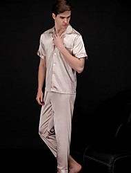 cheap -Men's Shirt Collar Satin & Silk Pajamas Solid Colored