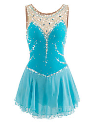 cheap -Figure Skating Dress Women's Girls' Ice Skating Dress LightBlue Spandex Rhinestone Performance Skating Wear Handmade Jeweled Rhinestone
