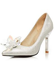 Недорогие -Жен. Обувь Полиуретан Весна / Осень Удобная обувь / Оригинальная обувь Обувь на каблуках На шпильке Заостренный носок Кристаллы Серебряный