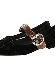 baratos -Mulheres Sapatos Veludo Primavera / Outono Conforto Rasos Nulo Sem Salto Dedo Apontado Nulo Presilha Preto / Verde / Nú