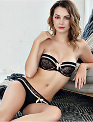 cheap -Women's Demi-cup Bras & Panties Sets Underwire Bra Push-up - Solid Jacquard