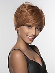 Недорогие -Человеческие волосы без парики Натуральные волосы Естественные прямые Боковая часть Короткие Машинное плетение Парик Жен.