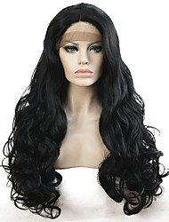 cheap -Synthetic Lace Front Wig Curly Synthetic Hair Black Wig Women's Long Lace Front Black