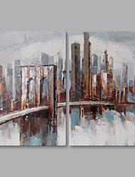 cheap -Hand-Painted Landscape Vertical, Modern Canvas Oil Painting Home Decoration Two Panels