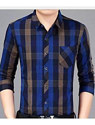 Masculino Camisa Social Casual Activo Outono,Houndstooth Algodão Colarinho de Camisa Manga Comprida Média