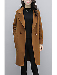 cheap -Women's Going out Street chic Winter Fall Coat,Solid Shirt Collar Long Sleeve Regular Polyester Oversized