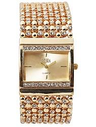 Недорогие -Жен. Часы-браслет Уникальный творческий часы Имитационная Четырехугольник Часы Кварцевый Нержавеющая сталь Серебристый металл / Золотистый Защита от влаги Секундомер Повседневные часы Аналоговый