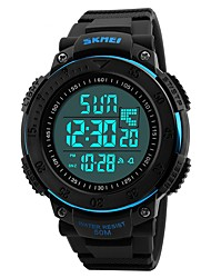 abordables -SKMEI Hombre Digital Reloj Deportivo Chino Calendario Resistente al Agua Noctilucente Cronómetro Dos Husos Horarios PU Banda Lujo Casual