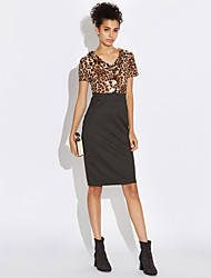 cheap -Women's Plus Size Bodycon Dress - Leopard High Rise V Neck
