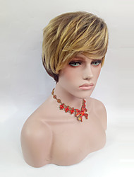 Kvinder Syntetiske parykker Kort Ret Medium Brun/ Jordbær Blond Side del Med bangs / pandehår Naturlig paryk Kostumeparyk
