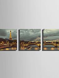 E-HOME® Stretched LED Canvas Print Art Tower And Bridge Under The Light LED Flashing Optical Fiber Print Set of 3