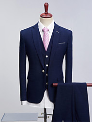 cheap -Navy Blue Pattern Standard Fit Polyester Suit - Peak Single Breasted One-button