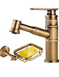 Art Deco / Retro Centerset Widespread Ceramic Valve Single Handle One Hole Antique Copper , Bathroom Sink Faucet