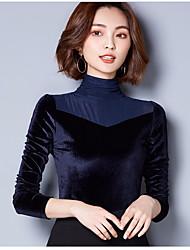 baratos -Feminino Blusa Para Noite Vintage Sólido Cashmere turtlenecks Manga Comprida