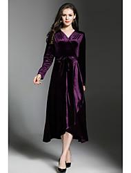 cheap -SUOQI Women's Work Vintage Velvet A Line Shift Sheath Dress - Solid Colored, Split Maxi V Neck