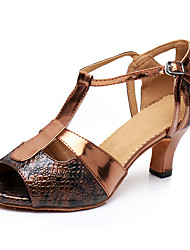 cheap -Women's Latin Shoes Leatherette Sneaker Training Trim Low Heel Customizable Dance Shoes Bronze