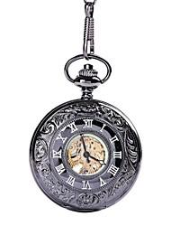 baratos -Crianças Casal Relógio Casual Relógio Esqueleto Relógio de Bolso Chinês Quartzo Gravação Oca Relógio Casual Lega Banda Luxo Casual Caveira