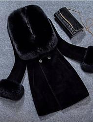 Недорогие -Жен. На каждый день Зима Осень Обычная Пальто с мехом V-образный вырез, Простой Однотонный Искусственный мех Меховая оторочка