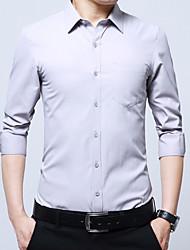 Langt Ærme Krave Herrer Ensfarvet Afslappet Daglig Skjorte,Bomuld