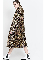 cheap -Women's Going out Simple Winter Fall Long Fur Coat, Leopard V Neck Faux Fur Polyester Oversized