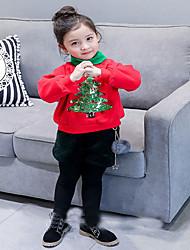 Недорогие -Девочки Худи / толстовка Шерсть Однотонный Зима Длинные рукава Очаровательный Зеленый Красный