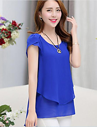 cheap -Women's Casual/Daily Work Street chic Summer Blouse,Solid Round Neck Short Sleeve Polyester